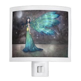 Aquamarine Eve Mystical Fairy and Cat Fantasy Art Night Light