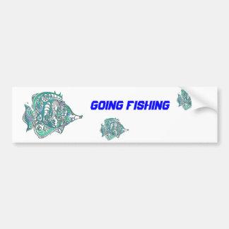 Aquamarine Fantasy Swirly Fish Car Bumper Sticker