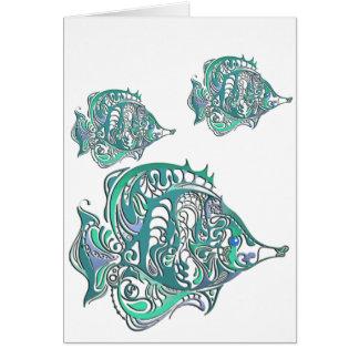 Aquamarine Fantasy Swirly Fish Greeting Card