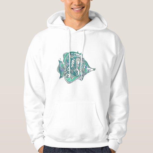 Aquamarine Fantasy Swirly Fish Hoodie