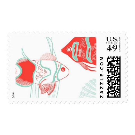 Aquamarine Fish C by Ceci New York Postage Stamps
