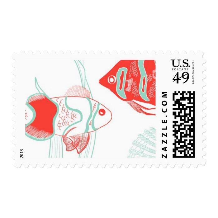 Aquamarine Fish C by Ceci New York Stamp
