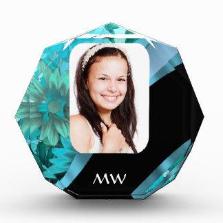 Aquamarine floral personalized photo award