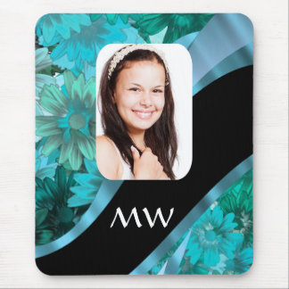 Aquamarine floral personalized photo mouse pad
