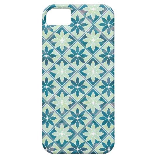 Aquamarine Floral Tiles iPhone 5 Case-Mate ID