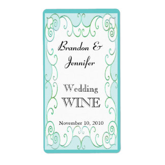 Aquamarine Flourish Wedding Mini Wine Labels