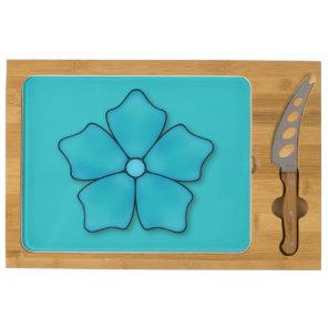 Aquamarine flower petals cheese board