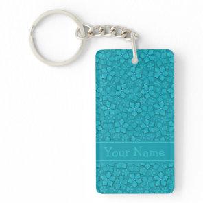 Aquamarine flower petals Customize Your Name Keychain