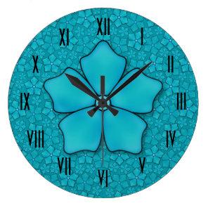 Aquamarine flower petals large clock
