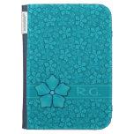 Aquamarine flower petals Monogram Initials Kindle Covers