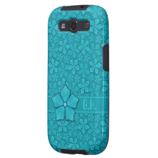 Aquamarine flower petals Monogram Initials Galaxy S3 Cases