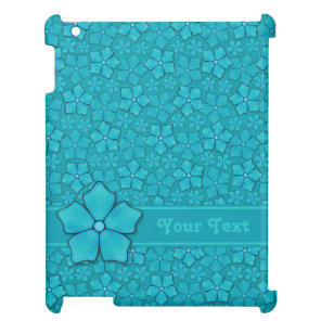 Aquamarine flower petals Monogram Initials Case For The iPad 2 3 4