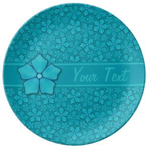 Aquamarine flower petals Monogram Initials Dinner Plate