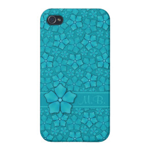 Aquamarine flower petals Monogram Initials iPhone 4/4S Case