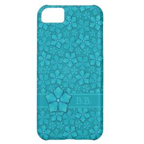 Aquamarine flower petals Monogram Initials iPhone 5C Cover