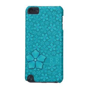 Aquamarine flower petals Monogram Initials iPod Touch 5G Cover