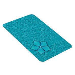 Aquamarine flower petals Monogram Initials Magnet