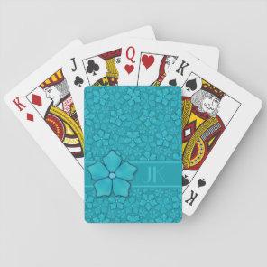 Aquamarine flower petals Monogram Initials Playing Cards