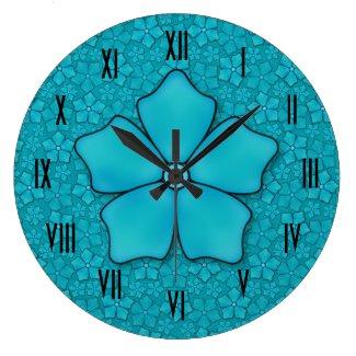 Aquamarine flower petals round clock