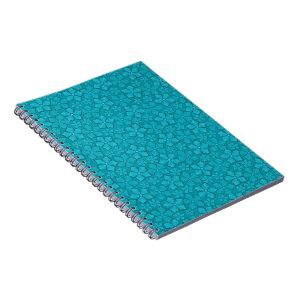 Aquamarine flower petals spiral notebook