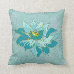 Aquamarine Flower Throw Pillow