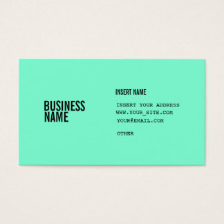 Aquamarine Format With Columns Condensed Fonts Business Card