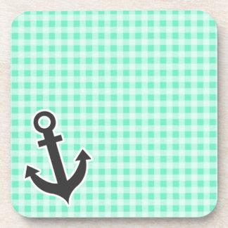 Aquamarine Gingham; Nautical Anchor Coaster