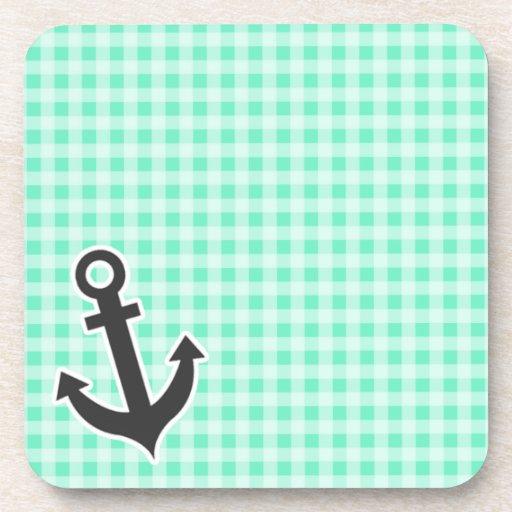 Aquamarine Gingham; Nautical Anchor Coasters