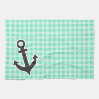 Aquamarine Gingham; Nautical Anchor Towel