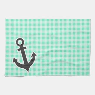Aquamarine Gingham; Nautical Anchor Towels