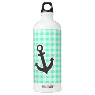 Aquamarine Gingham; Nautical Anchor Water Bottle