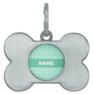 Aquamarine Gingham Pet Name Tag