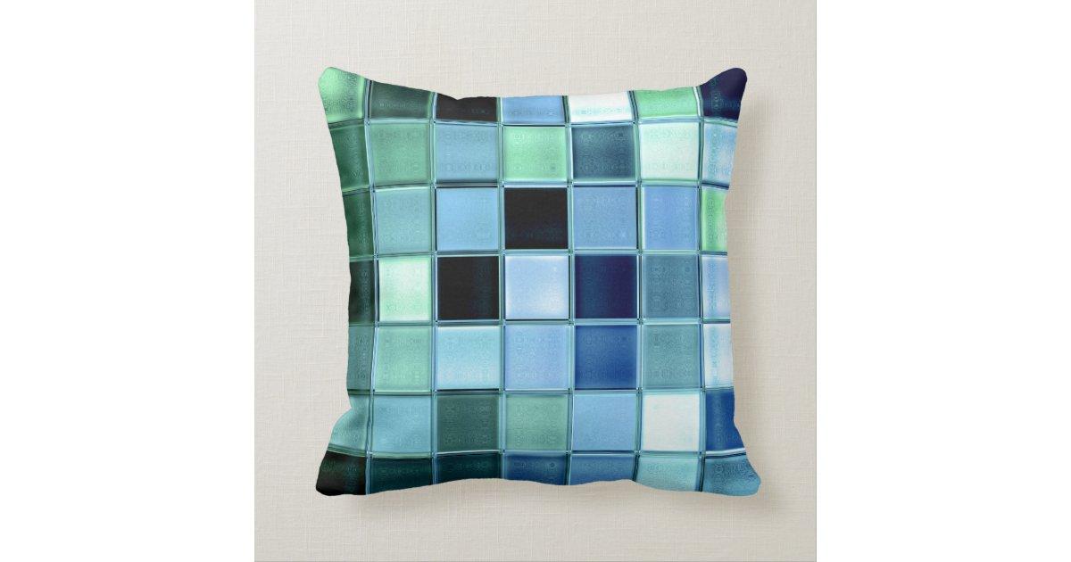 Aquamarine Glass Mosaic Custom Home Decor Throw Pillow Zazzle