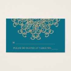 Aquamarine Gold Indian Inspired Seating Place Card at Zazzle