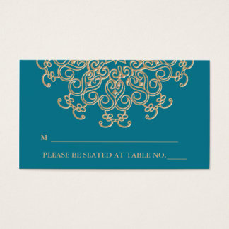 Aquamarine Gold Indian Inspired Seating Place Card