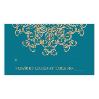 Aquamarine Gold Indian Inspired Seating Place Card Double-Sided Standard Business Cards (Pack Of 100)