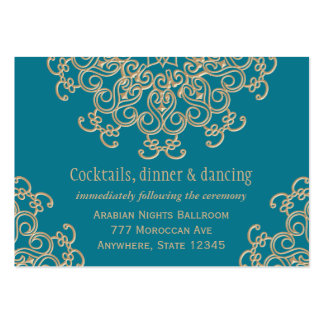 Aquamarine Gold Indian Reception Enclosure Card Business Card Template
