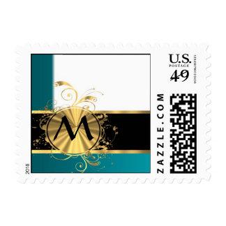 Aquamarine gold monogram postage stamp