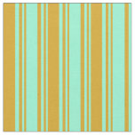 [ Thumbnail: Aquamarine & Goldenrod Colored Lined Pattern Fabric ]