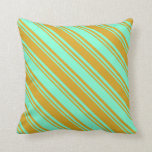[ Thumbnail: Aquamarine & Goldenrod Colored Lined Pattern Throw Pillow ]