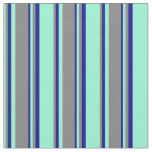 [ Thumbnail: Aquamarine, Gray, and Dark Blue Lines Fabric ]
