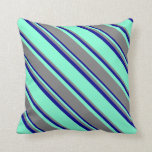 [ Thumbnail: Aquamarine, Gray, and Dark Blue Lines Throw Pillow ]