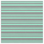 [ Thumbnail: Aquamarine & Gray Colored Stripes Pattern Fabric ]