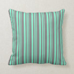 [ Thumbnail: Aquamarine & Gray Colored Stripes Pattern Pillow ]