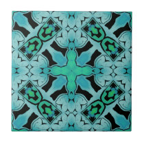 Aquamarine Green Abstract Hip chic pattern. Ceramic Tile