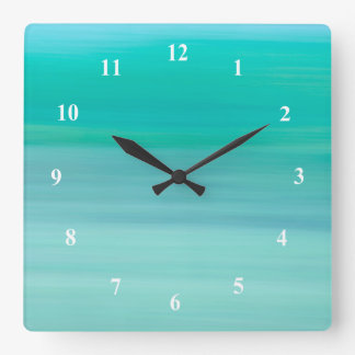 Aquamarine green and blue calm ocean square wall clock