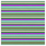 [ Thumbnail: Aquamarine, Green, Beige, Dark Green & Violet Fabric ]