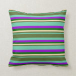 [ Thumbnail: Aquamarine, Green, Beige, Dark Green & Violet Throw Pillow ]