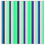 [ Thumbnail: Aquamarine, Green, Blue, Black, and Mint Cream Fabric ]