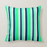 [ Thumbnail: Aquamarine, Green, Blue, Black, and Mint Cream Throw Pillow ]